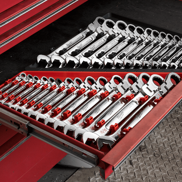 15pc Flex Head Ratcheting Combination Wrench Set – SAE, , hi-res