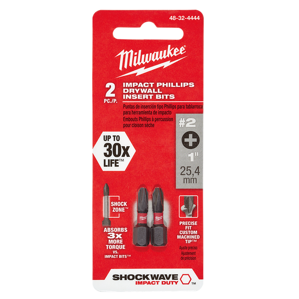SHOCKWAVE™ Insert Bit Phillips Reduced Diameter #2 2Pk