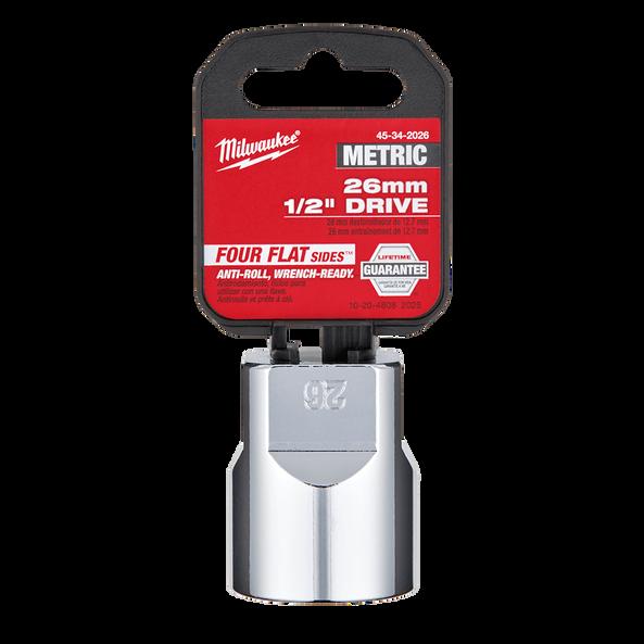 "1/2"" Drive 26mm Metric Standard 6-Point Socket, , hi-res"