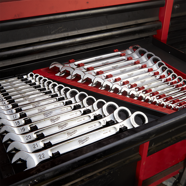15pc Ratcheting Combination Wrench Set – Metric