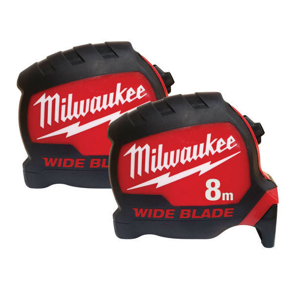 8M Wide Blade Tape Measure Double Pack, , hi-res