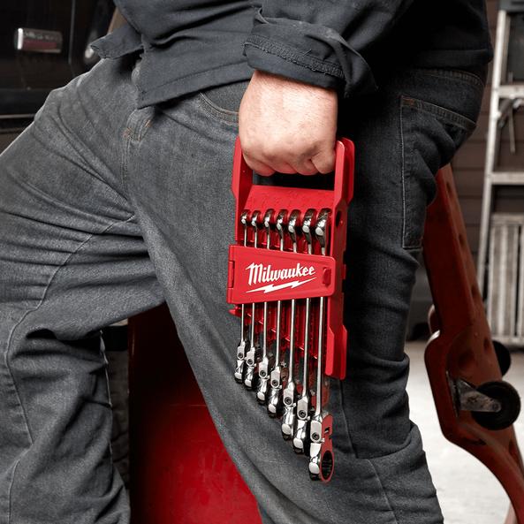 7pc Flex Head Ratcheting Combination Wrench Set – SAE, , hi-res