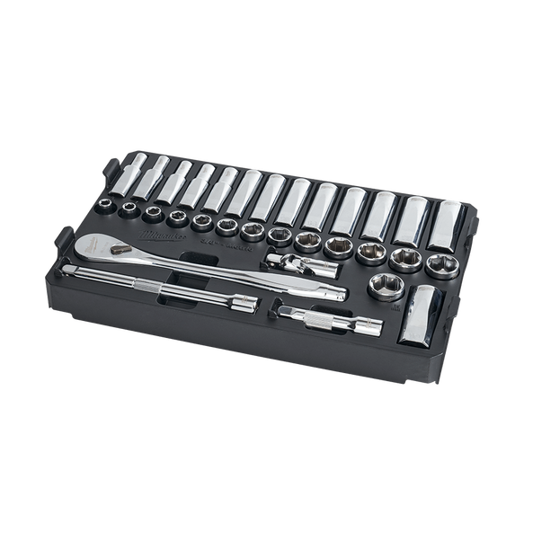 """3/8"""" Drive 32 Piece Metric Ratchet and Socket Set with PACKOUT™, , hi-res"""