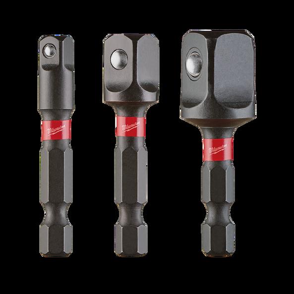 SHOCKWAVE™ Power Bit Socket Adapter 3Pc Set 1/4'' Hex to 1/4'', 3/8'', 1/2'' Square
