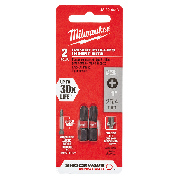 SHOCKWAVE™ Insert Bit Phillips #3 2Pk