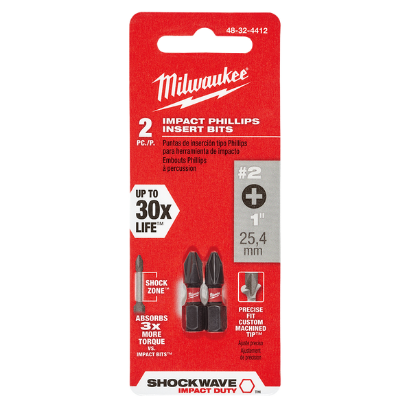 SHOCKWAVE™ Insert Bit Phillips #2 Pkt 2 2Pk
