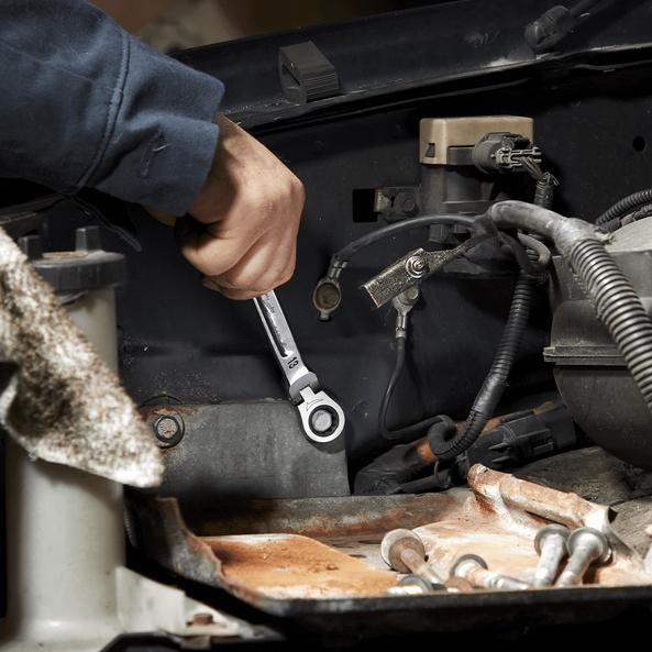 7pc Flex Head Ratcheting Combination Wrench Set – Metric, , hi-res